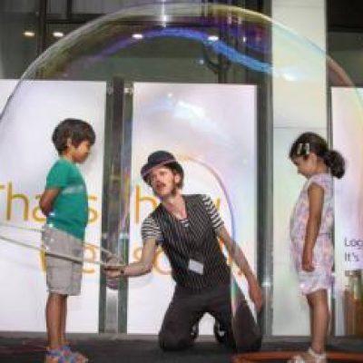 World's Tallest Bubble Man