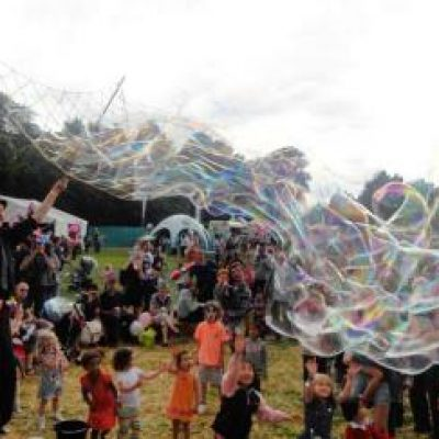 World's Tallest Bubble Man